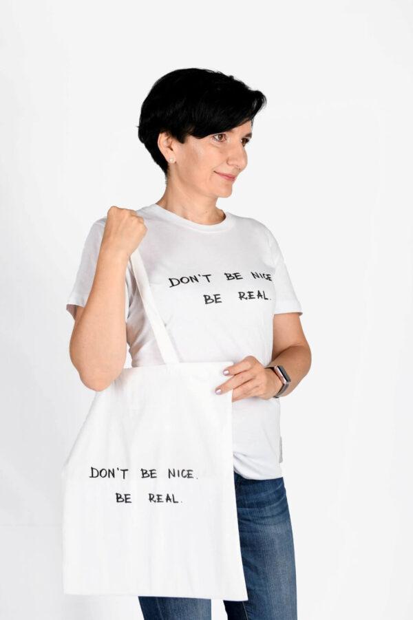 Koszulka damska i torba płócienna Zestaw DON`T BE NICE. BE REAL.