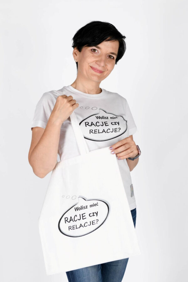 Koszulka damska i torba płócienna Zestaw Wolisz mieć racje czy relacje?
